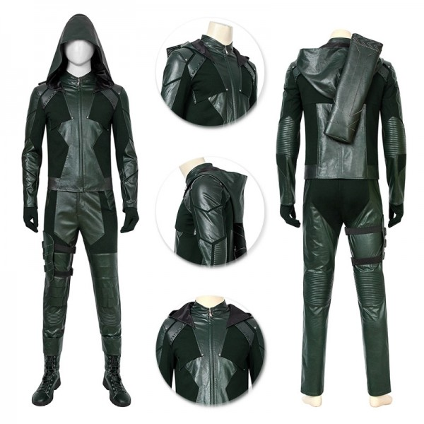 Oliver Queen Cosplay Costumes Green Arrow Cosplay Leather Suits Green Color