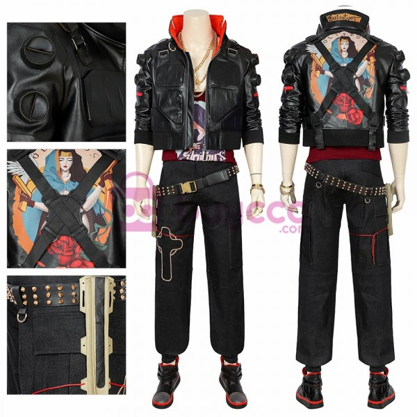 Jackie Cyberpunk 2077 Cosplay Costume Artificial Leather Black Cosplay Suit