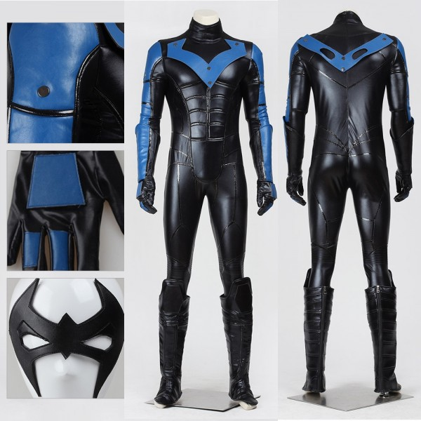 Nightwing Cosplay Costume Dick Grayson Faux Leather Black Suit
