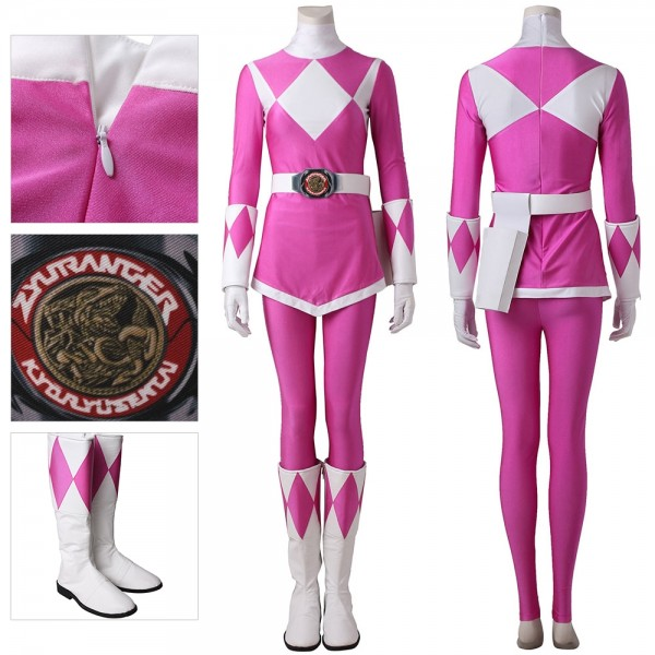 Pink Ranger Cosplay Suit Artificial Leather Costume Mighty Morphin Power Rangers