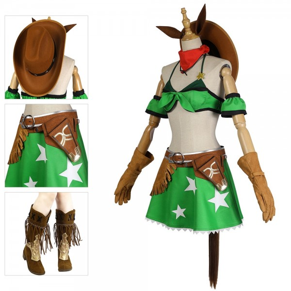Pretty Derby Cosplay Costume Green Derby Costume Dressing Up Suit