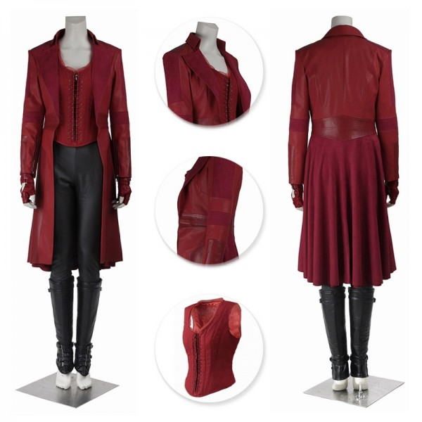 Scarlet Witch Costumes Wanda Maximoff Red Cosplay Long Coat Suit