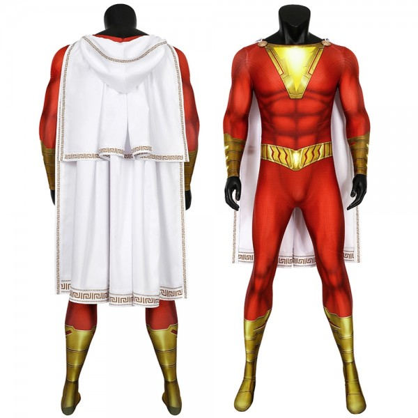 Shazam High Detailed Printing Spandex Cosplay Suit With Deluxe Cloak