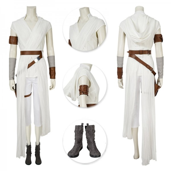 The Rise Of Skywalker Rey Costume White Cosplay Suits Deluxe