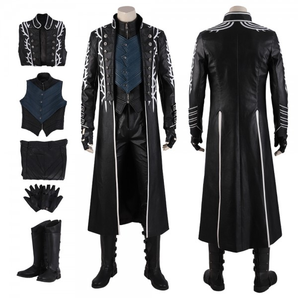 Vergil Cosplay Costumes Devil May Cry 5 Vergil Black Trench Coat Xzw190274